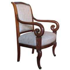 A Handsome French Restauration Mahogany Armchair