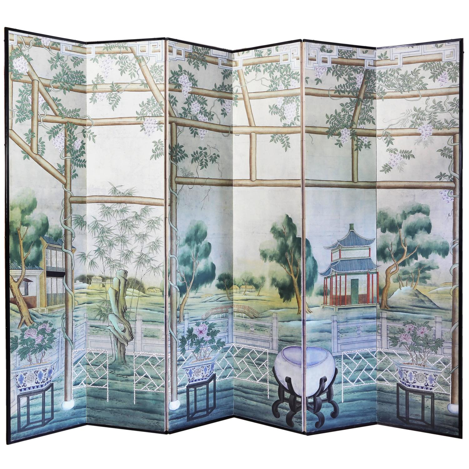 19th century french hand painted room divider screen for for Painted screens room dividers
