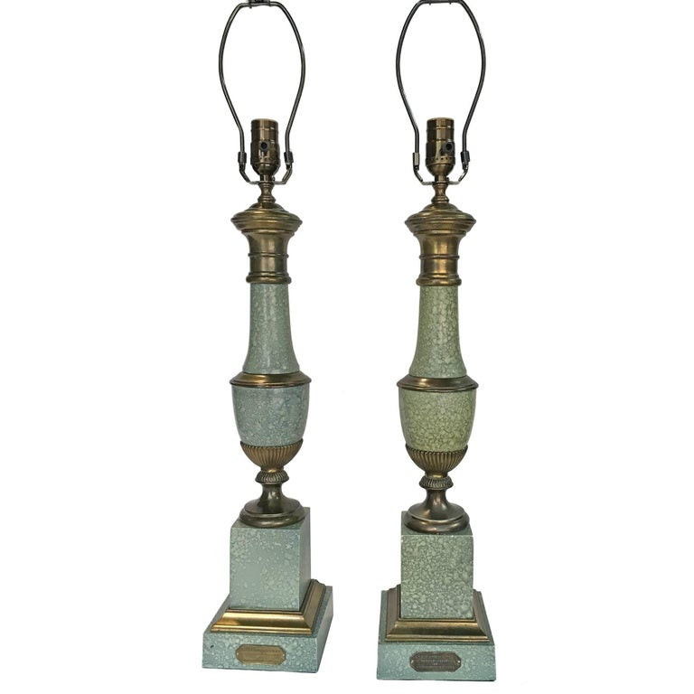 Metal Pair of Painted Tole Lamps For Sale