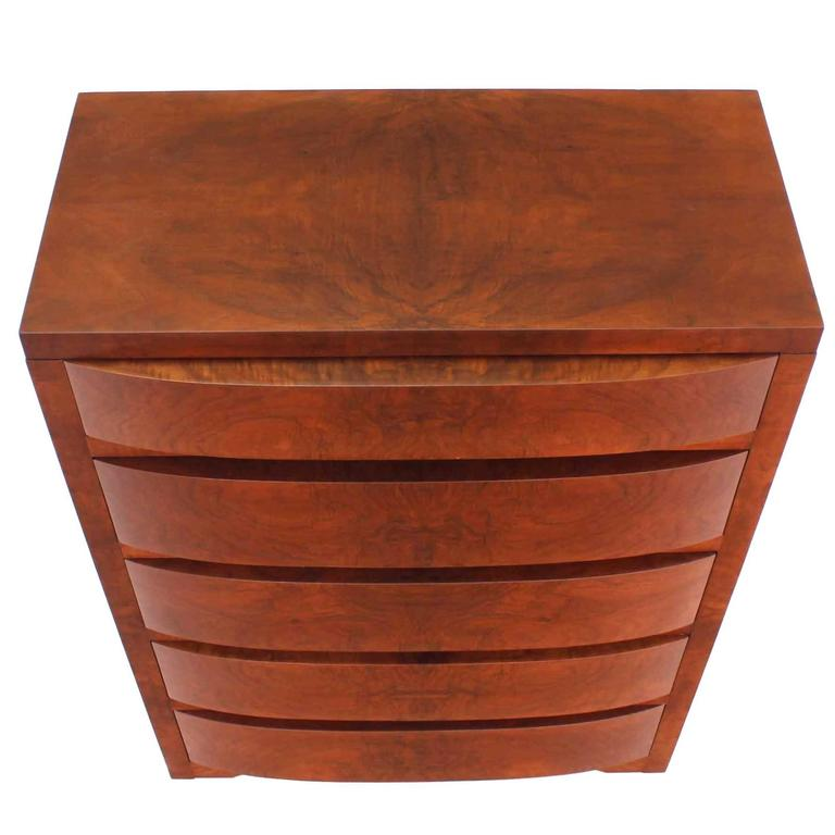 Concealed Mirror Art Deco Burl Wood High Chest Dresser Chest of Drawers. For Sale
