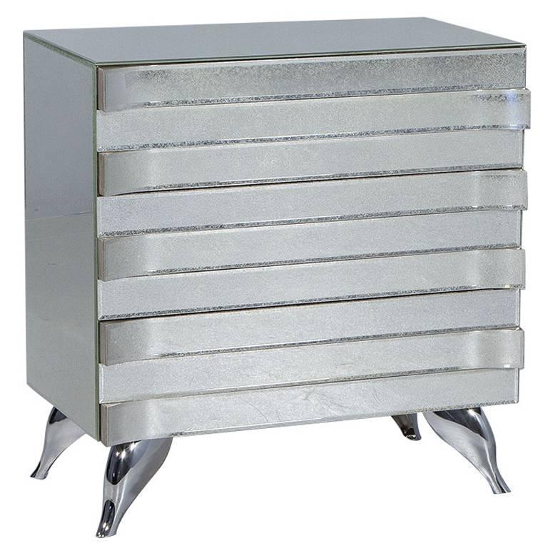Mirrored Nightstand Canada : Wave Front Antiqued Mirror Nightstand at 1stdibs