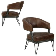 Modern pair of french industrial style leather and patinated steel arm - Burlap Armchairs 23 For Sale At 1stdibs