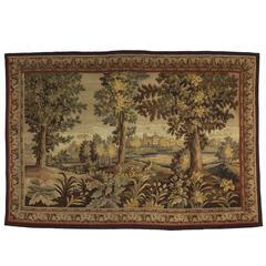 Late 19th Century Antique French Aubusson Verdure Garden Tapestry Wall Hanging
