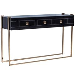 Black Glass and Copper, Three-Drawer Console