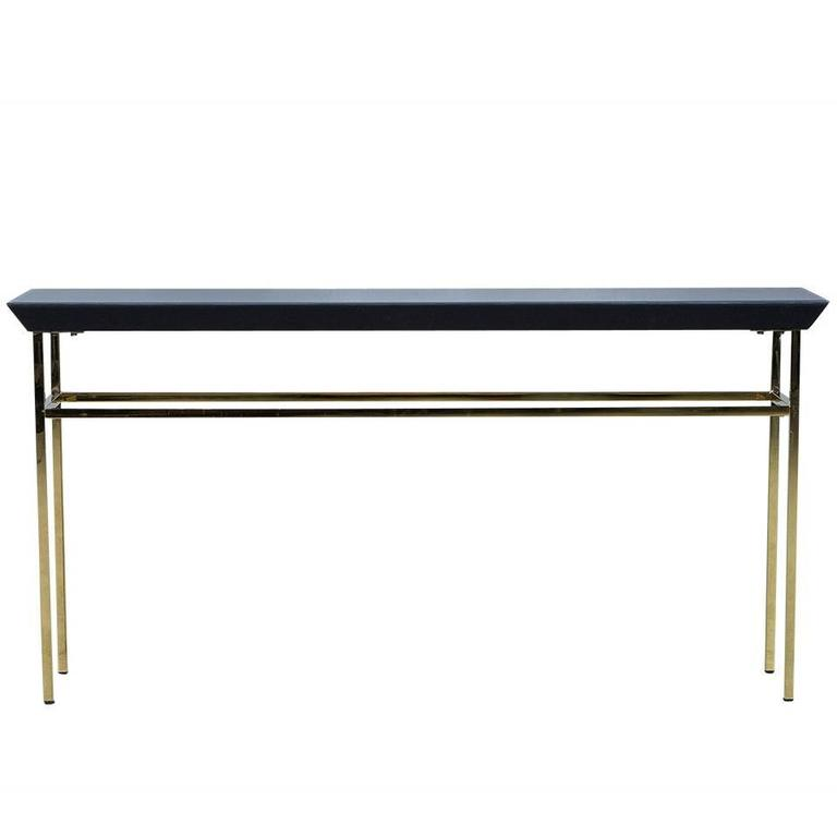 Black glass and gold metal console table at 1stdibs for Metal console tables glass top