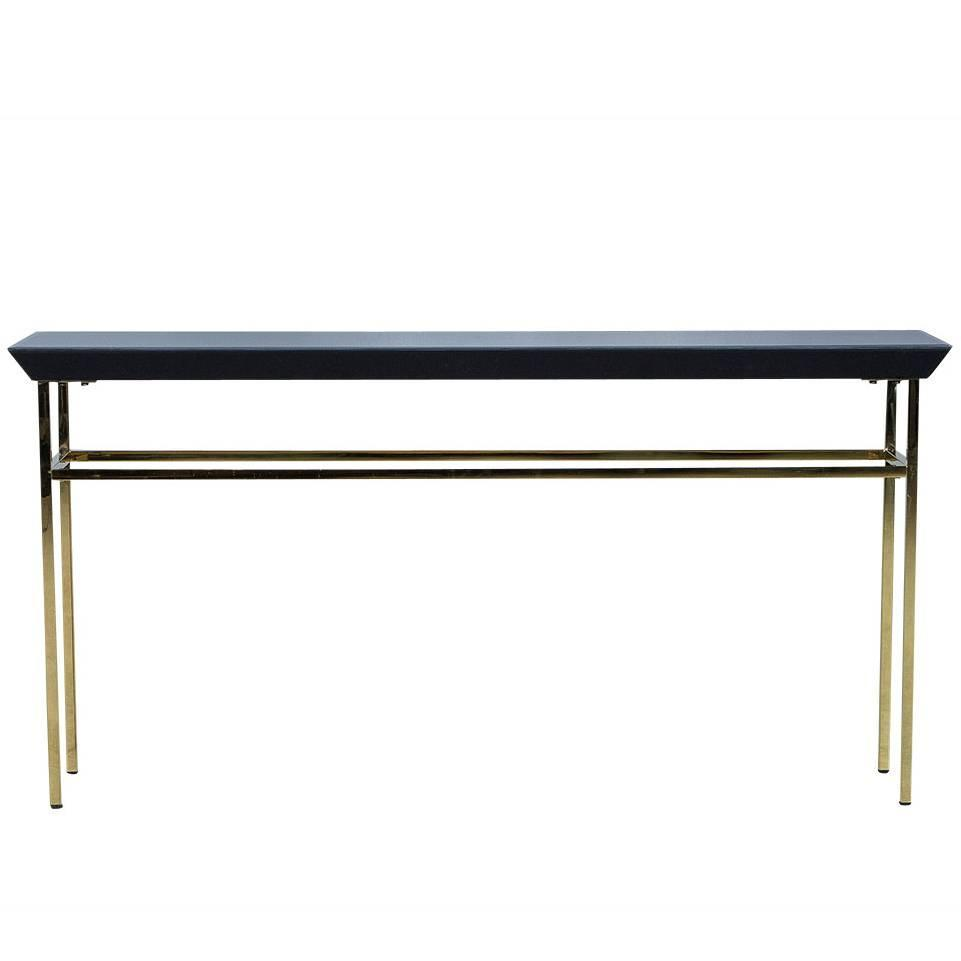 Black Glass And Gold Metal Console Table At 1stdibs