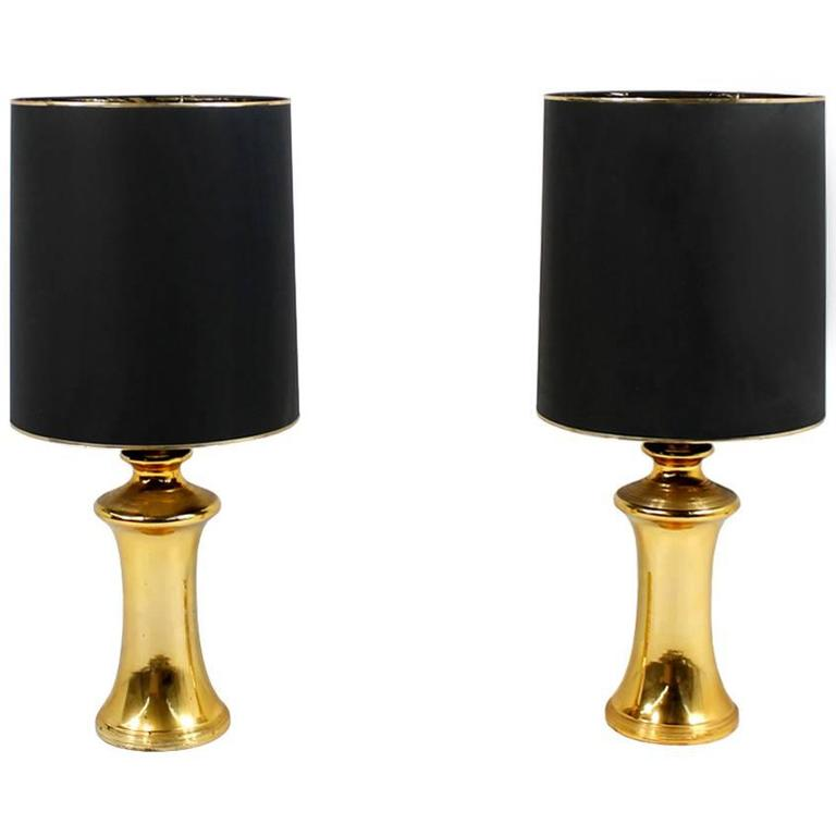 Pair of Beautiful 1960s Oversized Golden Ceramic Table & Floor Lamps Mid-Century
