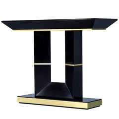 Custom Art Deco Black Lacquered Console Table by Carrocel