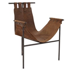 Iron and Brown Saddle Leather Sling Chair by Arizona Architect Bill Tull