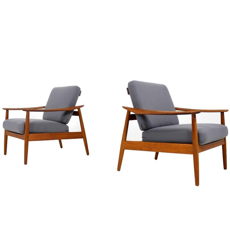 Beautiful Pair of 1960s Arne Vodder Teak Easy Chairs Mod. 164, Danish Modern