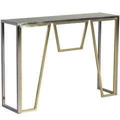 Satin Brass and Polished Nickel Console Table