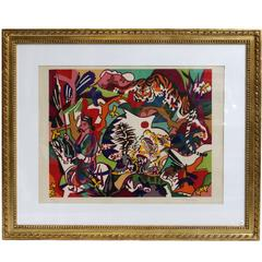 """Lithograph by Charles Lapicque """"Jungle Tiger,"""" 1970"""