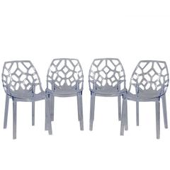 Set of Four Modern Acrylic Accent Chairs