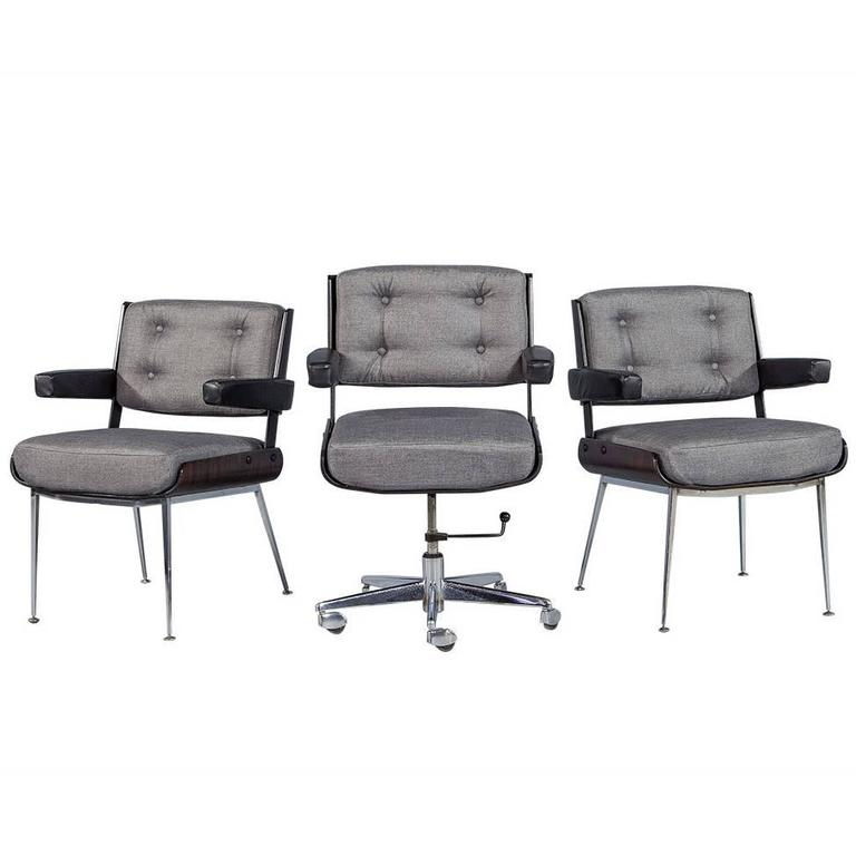 Pleasant Set Of Three Mid Century Office Chair Set By Alain Richard Pabps2019 Chair Design Images Pabps2019Com