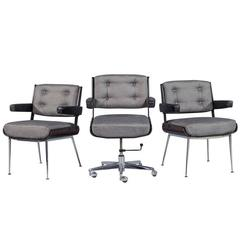 Set of Three Mid-Century Office Chair Set by Alain Richard