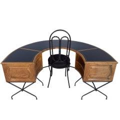 Distressed Oak Horseshoe Desk and Matching Rod Iron Chair