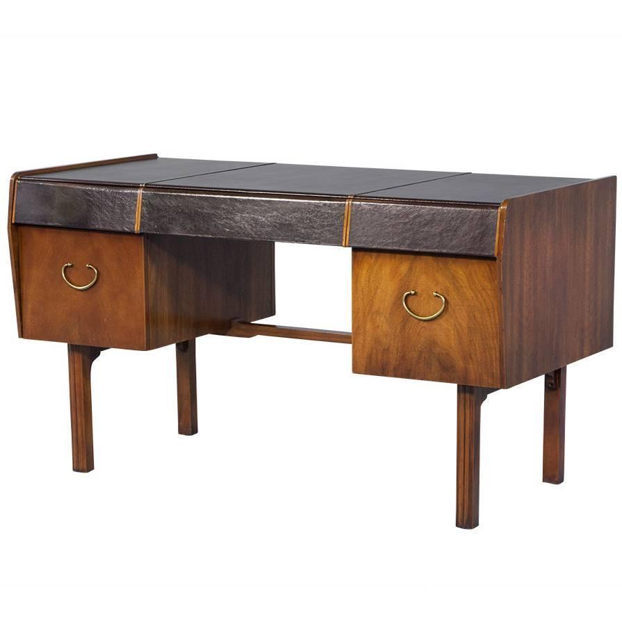 Mid Century Modern Teak Leather Top Desk By John Widdicomb