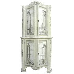 Fabulous Tall 19th Century Italian Grisailles Painted Cabinet