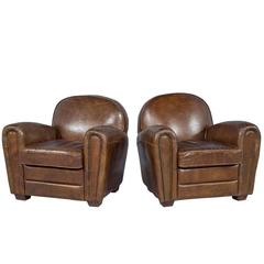 Pair of Distressed Brown Leather Art Deco Club Chairs