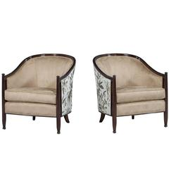 Pair of Carrocel Custom Art Deco Style Lounge Chairs