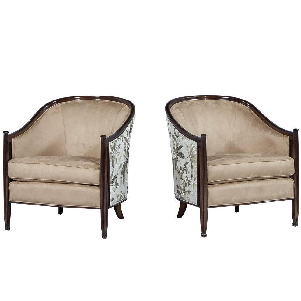 Pair of carrocel custom art deco style lounge chairs at for Art deco style lounge