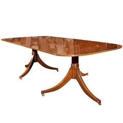 Custom English Walnut Double Pedestal Dining Table