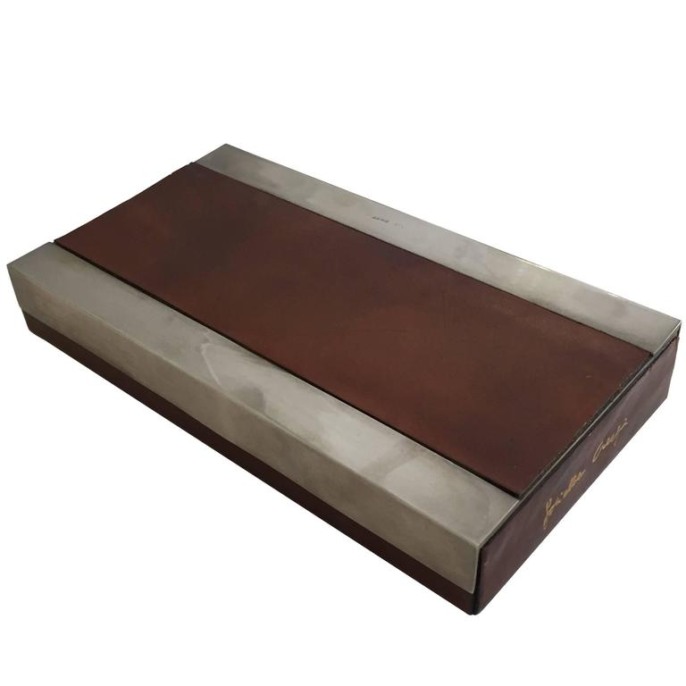 Steel and Leather Box by Gabriella Crespi For Sale