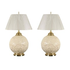 Outstanding Pair of Vintage Ceramic Lily Pad Lamps