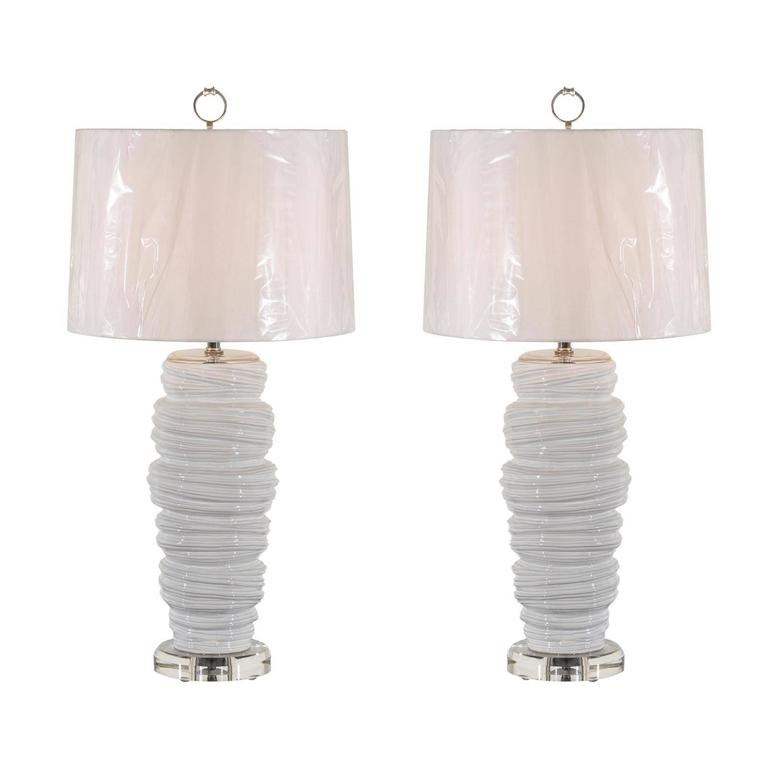 Gorgeous Pair of Ceramic and Lucite Soft Serve Style Lamps