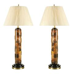 Exceptional Pair of Vintage Wallpaper Roller Lamps