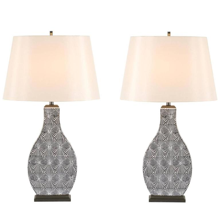 Restored Pair of Modern Ceramic Lamps in Charcoal and Cream