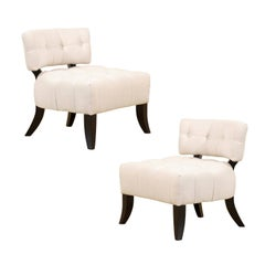 Restored Pair of Vintage Biscuit Tufted Loungers in the Style of Billy Haines