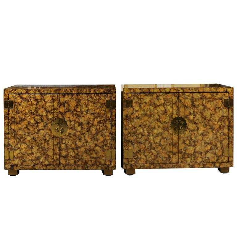 Restored Pair of Vintage Faux Tortoise Shell Cabinets by Henredon, circa 1975