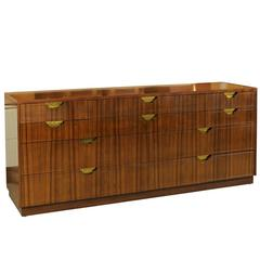 Exceptional Vintage Modern Walnut Ten-Drawer Chest by Baker
