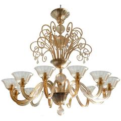 Chandelier by Barovier & Toso Italy, Murano, circa 1930