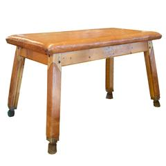 Vintage Leather and Wood Vaulting Table