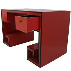 An Italian Red Lacquered Desk, circa 1970