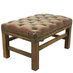 Buttoned Leather Footstool, circa 1960