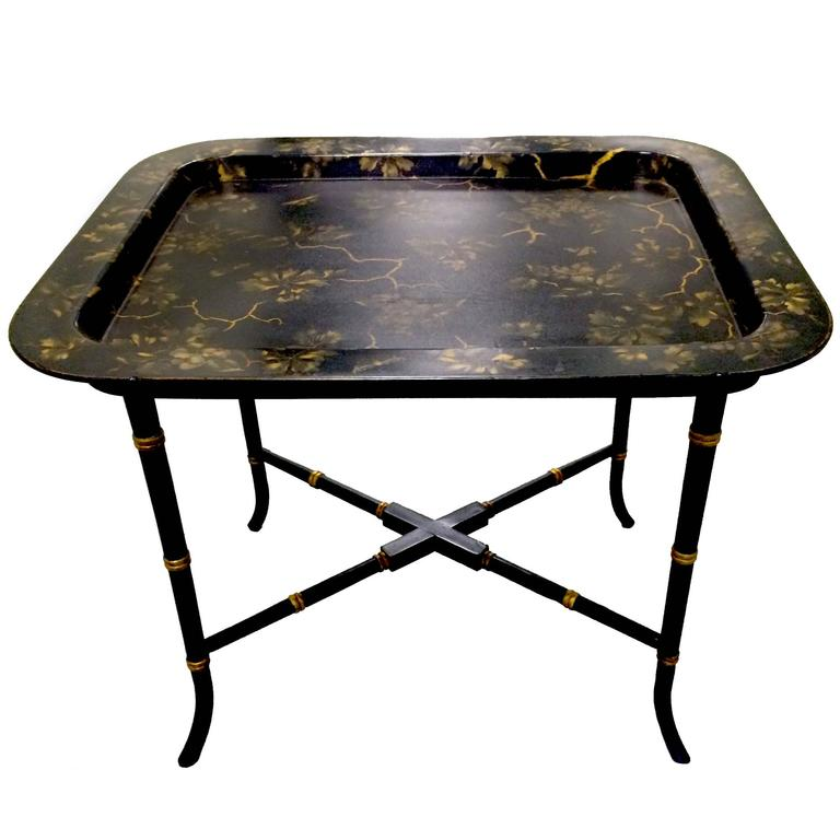 English Chinoiserie Black & Gold Papier Mâché Tray Table