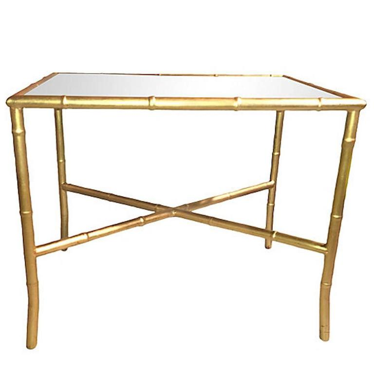 Italian Gold Gilt Iron And Glass Faux Bamboo Metal Square: Faux Bamboo Cocktail Table With Mirrored Top At 1stdibs