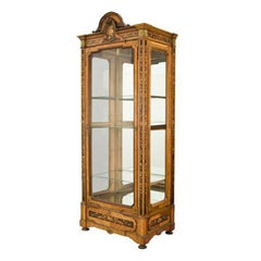 19th Century French Louis XVI Walnut Vitrine with Glass & Marquetry Floral Decor