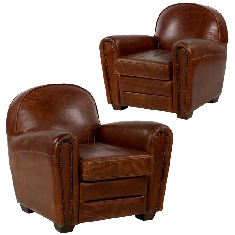 Pair of Art Deco Style Distressed Leather Club Armchairs, Late 20th Century  For Sale - Pair Of Art Deco Style Distressed Leather Club Armchairs, Late 20th