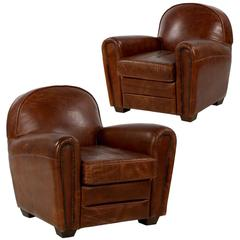 Pair of Art Deco Style Distressed Leather Club Armchairs, Late 20th Century
