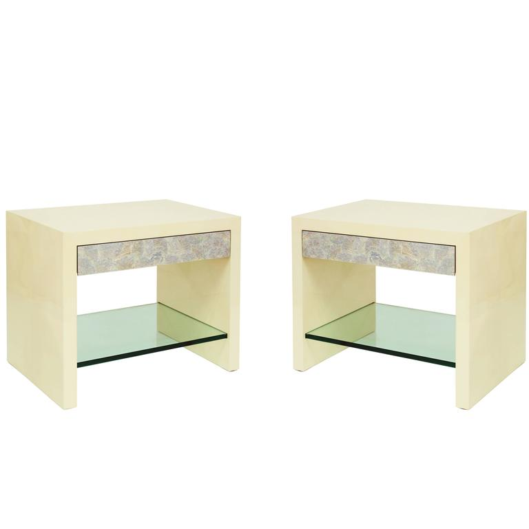 "Pair of ""Pearl Front Bedside Tables"" by Lobel Originals"