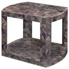 Karl Springer 2-Tier Tesselated Pen Shell Side Table