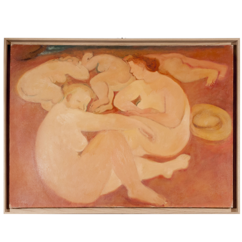 "Maurice Savin Painting, Oil on canvas ""Les Baigneuses,"" circa 1940"