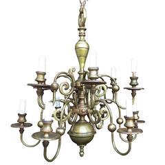 20th Century Queen Anne Style Brass and Bronze Chandelier