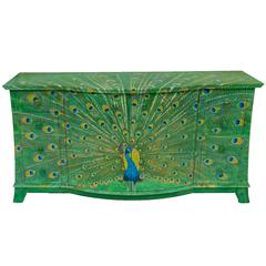 Lacquered Peacock Sideboard Hand-Painted by Kensa Designs