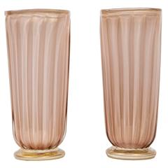 Pair of Square Murano Glass Vases