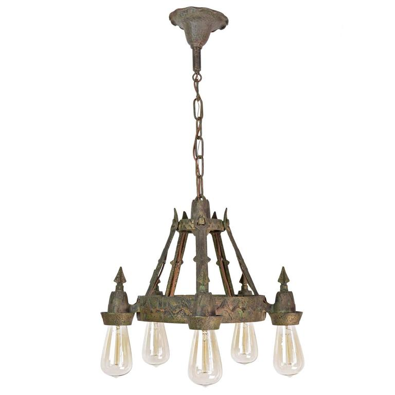 Items Similar To Lighting Rustic Chandelier Vintage 1920 S: Early 1920s Angular Cast Iron Chandelier For Sale At 1stdibs